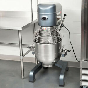 New 40 Qt Gear Driven Commercial Floor Mixer W Stainless Steel Bowl Guard
