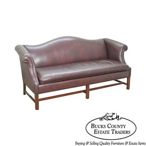Hancock Moore Mahogany Chippendale Style Leather Sofa