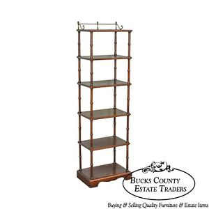 Faux Bamboo Cherry Wood 6 Tier Narrow Etagere W Brass Gallery