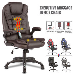 Ergonomic 6 Point Massage Racing Game Office Chair Pu Leather W Remote Control