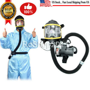 Electric Constant Flow Supplied Air Fed Full Face Gas Mask Respirator System Us