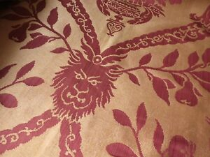 Lions Birds Antique 19th Century French Silk Damask Curtains Drapes Valance