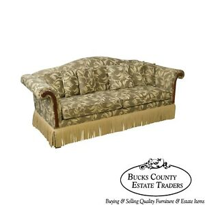Custom Upholstered Vine Berry Sofa W Fringe