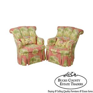 Calico Corners Custom Jungle Print Upholstered Pair Of Channel Back Club Chairs