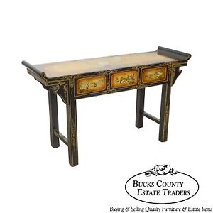 Hand Painted Lacquered Asian Style Pagoda Top Console W Drawers