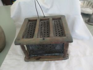 Wooden Foot Warmer American Primitive Mid 19th Century Pierced Punched Tin