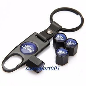 Metal Valve Caps Auto Wheel Tire Tyre Stem Air Caps Wrench For Ford Black B220