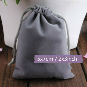 200x Drawstring Gray Velvet Square Jewellery Wedding Pouches Gift Bags 2 x3
