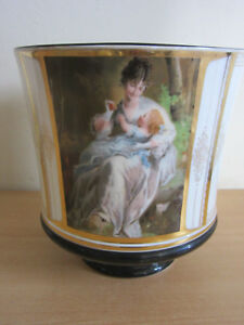 Antique Kpm German Porcelain Fancy Planter W Painted Woman Child Scene