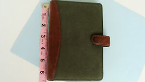 Pocket 5 Rings Green brown Leather Franklin Covey quest Planner binder W snap