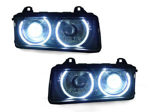 Depo M3 Uhp Led Halo Angel Eye Xenon Hid Euro Zkw Glass Headlight For Bmw E36