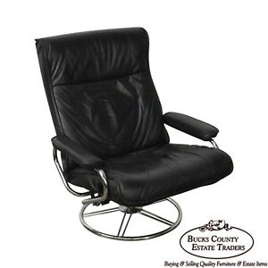 Kebe Black Leather Mid Century Modern Style Swivel Reclining Lounge Chair