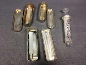 Lot Antique Syringes Hypodermic Glass Vintage And Boxes Aluminum Medical