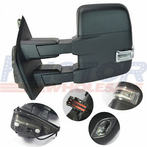 Towing Mirror Power Pair Heated Signal Spotlight Textured Black For Ford F150