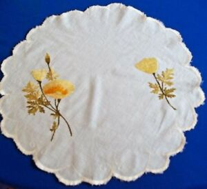 Antique Society Silk Embroidery Wild Poppy Flower 16 Doily Hand Embroidery