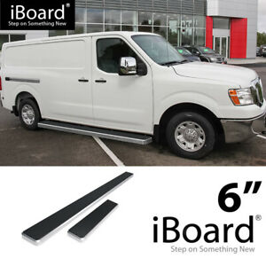 Running Board Side Step 6in Silver Fit Nissan Nv 1500 2500 Full Size Van 12 19