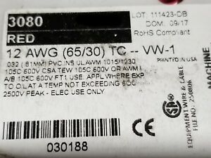 Alpha Wire 3080 12awg Tinned Copper Hook Up Wire 600v 105c Mtw Tew Red 25ft