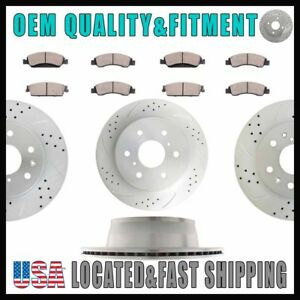 For 2011 Chevrolet Silverado 1500 Lt 5 3l Front Rear Drill Brake Rotors And Pads