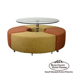 Outer Limits Round Mcm Style Contemporary Glass Top Dinette Table W Stools