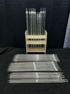 Lot Vintage Glass Scientific 25ml 1 10 Serological Pipette Pipet Kimax Reading