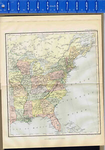 United States A Pair Of 1893 Antique Color Maps Clearance Item Johnston