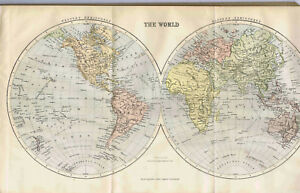 The World North South Hemispheres 1893 Antique Color Map Clearance Item
