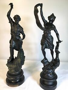 Pair Of Antique French Laborer Statues Mason And Iron Worker
