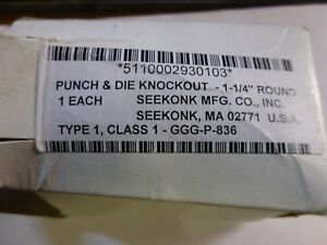Seekonk Punch Die Knockout 1 1 4 Round Nsn 5110 00 293 0103 Brand New