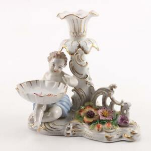 Carl Theime Dresden Figural Rococo Style Candle Holder With Match Catcher