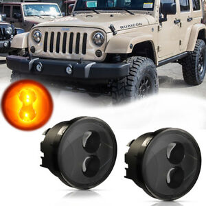Smoked 2pc Led Daytime Drl Lights turn Signal Lamps For 07 Jeep Wrangler Jk