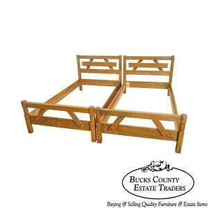 Brandt Ranch Oak Rustic Pair Of Sawbuck Twin Beds