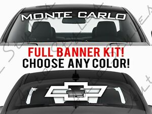 Chevy Monte Carlo Ss Logo Curved Windshield Banner Full 4 Piece Vinyl Decal Kit