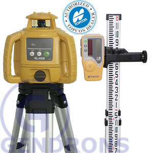 Topcon Rl h5b Self leveling Rotary Laser Level Tripod Grade Rod Inch