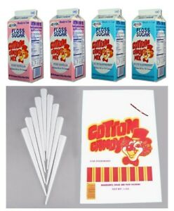Cotton Candy 200 Serving Kit Cones Pink Blue Floss Sugar Bags For Machine