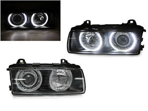 Depo Uhp Led P36 Projector Glass Angel Halo Headlight For 92 99 Bmw E36 3 Series