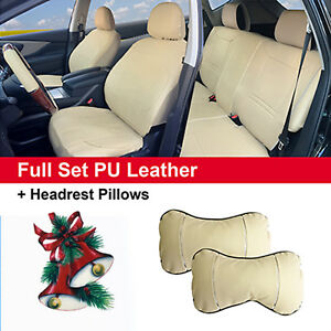 Full 5 Seats Pu Leather Cushion Covers 2 Pillows Compatible To Buick 53255 Tan