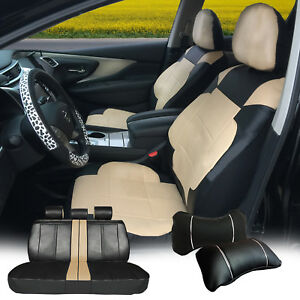 Full 5 Seats Pu Leather Cushion 2 Pillows Compatible To Suv Van 53255 Bk tan