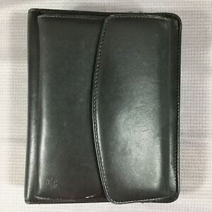 Franklin Covey Black Full Grain Nappa Leather Zip Around Day Planner 1 5 Binder