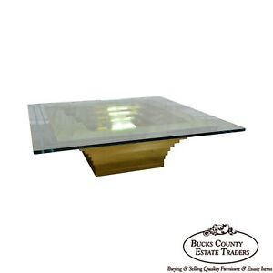 Mid Century Modern Cityscape Stacking Brass Large Square Glass Top Coffee Table
