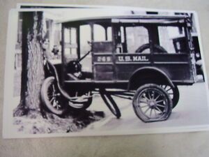 1915 Ford Model T Us Mail Truck That Hit Tree 11 X 17 Photo Picture