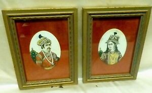 Pair Of Estate Found Hand Painted Miniature Indo Persian Paintings Framed