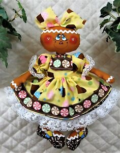 Primitive Raggedy 14 Sweet Shoppe Peppermints Cupcakes Gingerbread Doll