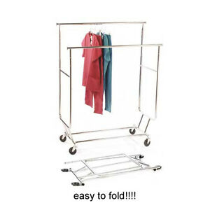 Double Rail Retail Rack W Wheels 2 Bar Collapsible Rolling Garment Rack