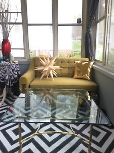 Vintage Labarge Italian Coffee Table Regency Brass Beveled Glass Gorgeous