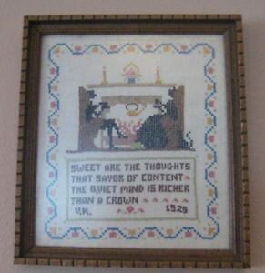 Antique Cross Stitch 1920 S Embroidery Sampler Quiet Mind Is Richer Than A Crown