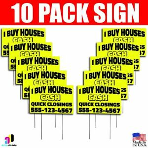 10x I Buy Houses Cash Yard Bandit Signs Your Phone Number Real Estate Marketing