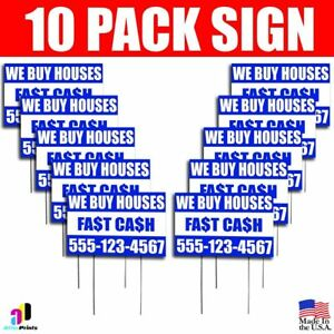 10x We Buy Houses Fast Cash Yard Signs Your Phone Number Real Estate Marketing