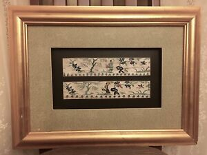 Antique Chinese Embroidery Silk Framed Textile Embroidered Art Wall Decor
