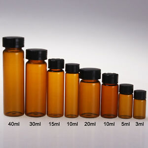 100pc 10ml Brown Glassware Experimental Container Sample Bottle Essential Oil A
