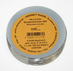 Rare Alloy Lead Free Solder Wire Sn96 5ag3cu0 5 0 4mm 100g With Flux By Chemet